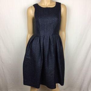 Orla Kiely Navy Blue Textured Skater Dress
